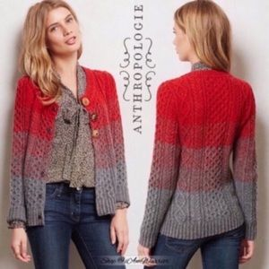 Anthropologie jeweled button ombré cardigan
